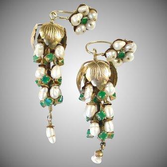 Stunning Georgian Day to Night Emerald Pearl Ear Pendants