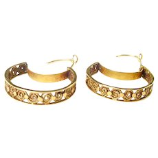 Rare Georgian Filigree 18k Gold Hoop Earrings