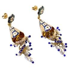 22k Gold Enamel Chandelier Earrings Ear Pendants