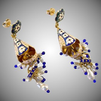 22k Gold Enamel Chandelier Earrings Ear Pendants