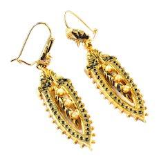 Antique Tracery Enamel Pearl 14k Gold Earrings Ear Pendants