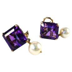 Vintage Royal Amethyst Pearl 14k Gold Earrings