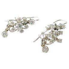 Vintage .85 Ct Diamond Cluster Drop 14k White Gold Earrings