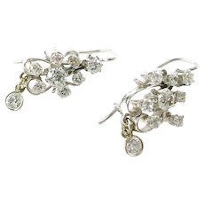 Vintage Diamond Earrings - .85 Ct Cluster Drop 14k White Gold