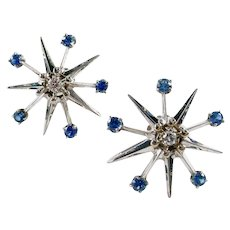 Vintage Sapphire Diamond Snowflake Starburst 14k Gold  Earrings