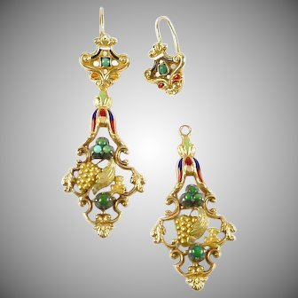 Regal Antique Jasper 18k Gold Enamel Day Night Earrings