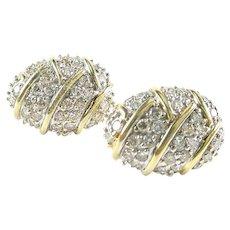 Stunning Vintage Pave Diamond Earrings --2.00 Ct. 14k Gold Ear Clips--Signed EREV