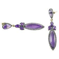 Amethyst Diamond Earrings--1.20 Ct. Marquise Blackened Silver Ear Pendants