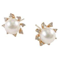 Sweet Diamond Halo Cultured Pearl Post 14k Gold Earrings