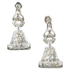 Stunning Art Deco Platimum Diamond Earrings