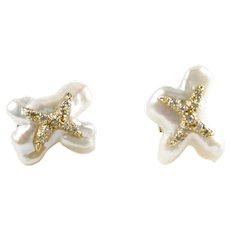 """Luminous Cultured Biwa Pearl Diamond """"X"""" 14k Gold Earrings"""