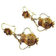 Antique Amphora Urn 14k Yellow Gold Filigree Earrings