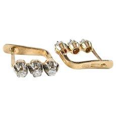 Russian 3 Diamond 14k Rose Gold Earrings