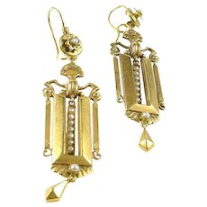 Antique 15ct Gold Pearl Pendant Earrings