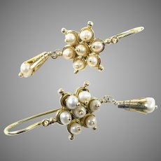 Antique Pearl 14k Gold Drop Back to Front Earrings