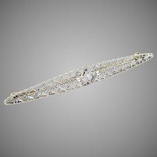 Edwardian Platinum Diamond Bar Brooch