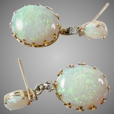 Vintage 2-Tier Opal diamond Earrings--Large and Luminous