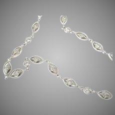 Antique Belle Epoque Diamond Platinum Fancy Chain Necklace Collar