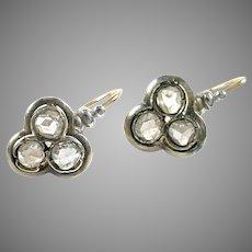 Antique Russian Rose Diamond Gold Earrings