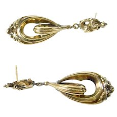 Victorian Antique Drop Gold Earrings
