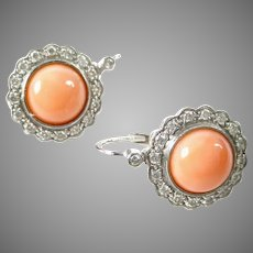 Vintage Platinum Coral Diamond Earrings