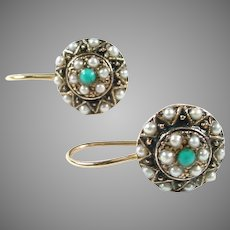 Sweet Turquoise 14k Gold Half Pearl Earrings