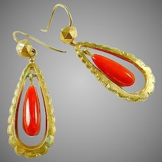 Vintage Articulated Coral 18k Gold Earrings