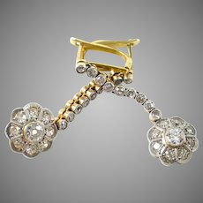 Stunning Edwardian Diamond Drop Platinum 18k Gold Earrings Ear Pendants