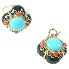 Vintage Persian Turquoise Coral Onyx 14k Gold Ring and Pearl Enhancer Pendant