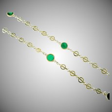 Vintage Malachite 14k Gold Fancy Long Chain