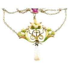Art Nouveau Enamel Pearl 14k Gold Lavaliere Festoon Necklace