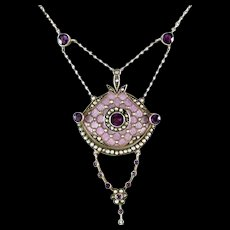 Art & Crafts Period Guilloche Enamel Amethyst Silver Lavaliere Pendant Necklace