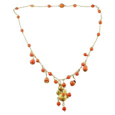 Antique French 18k Coral Bead Bib Collar Necklace--Continental