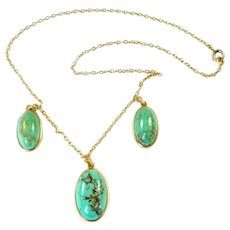 Antique Turquoise Gold Drop Necklace