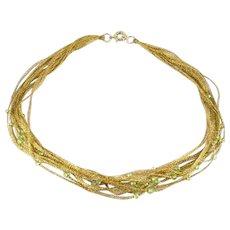 22k Gold Mesh Peridot Collar Chain Necklace