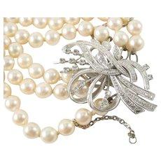 Fine Vintage Triple Strand Cultured Pearl Diamond 18k Gold Necklace