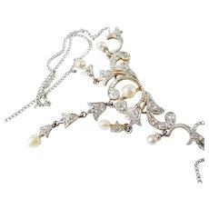 Edwardian Platinum Top Diamond Pearl Necklace