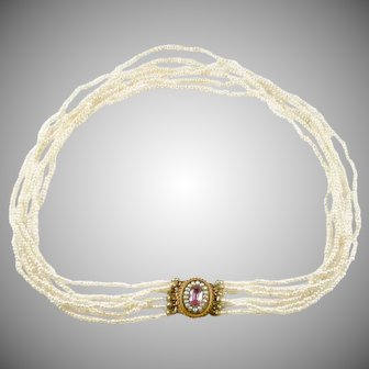 Antique Georgian 6-Strand Seed Pearl Choker Necklace