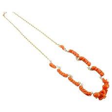 Antique Carved Coral 18k Gold Cherub Necklace