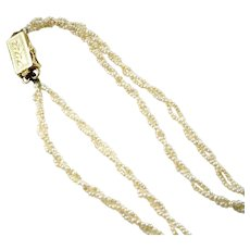 Antique 2-Strand Twisted Seed Pearl Gold Necklace