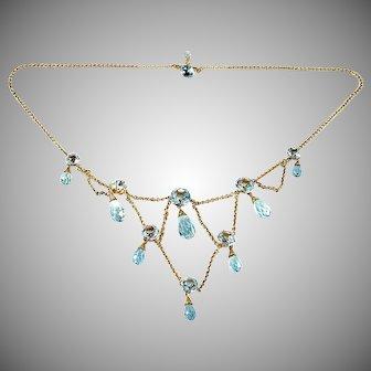 Antique Edwardian Aquamarine Festoon Gold Necklace