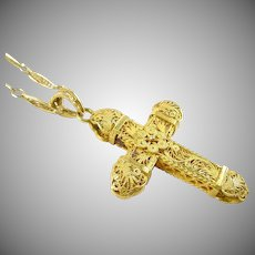 Cannetille Gold Filigree Cross Chain Pendant Necklace