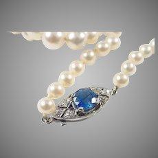 Elegant Sapphire Diamond Platinum Cultured Pearl Necklace