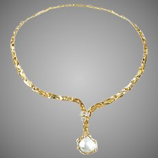 Artisan Hammered 14k Gold Diamond Cultured Pearl Necklace Collar