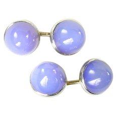 Vintage Blue Chalcedony Gumdrop 14k Gold Cufflinks