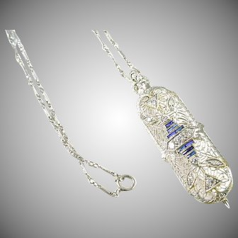 Art Deco 14k Gold Diamond & Sapphire Pendant Pin Necklace