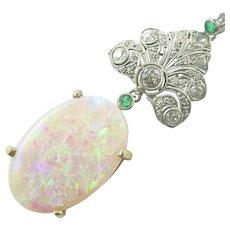 Art Deco Diamond Opal Emerald Pendant Necklace