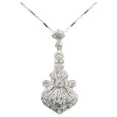 Art Deco Diamond 14k White Gold Pendant and Chain