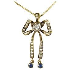 Antique Belle Epoque Pearl Diamond Sapphire Bow Lavaliere Pendant