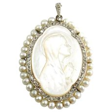 Antique Edwardian Mother of Pearl Diamond Pearl Madonna Religious Gold Pendant